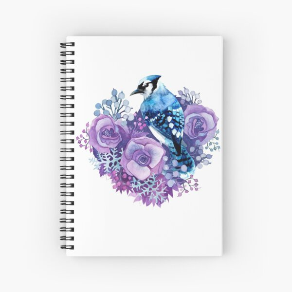 Blue Jay and Violet Flowers Watercolor  Spiral Notebook