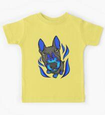 Custom Hot Rod Bull Terrier Blue Kids Tee