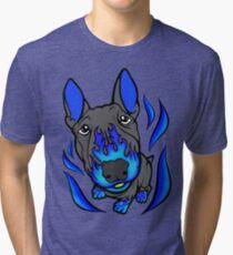 Custom Hot Rod Bull Terrier Blue Tri-blend T-Shirt