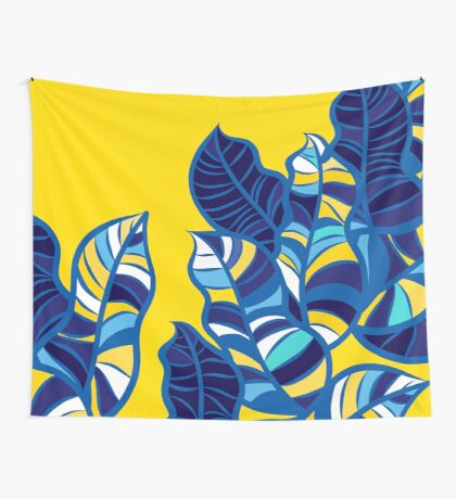 Pop foliage on Yellow Wall Tapestry