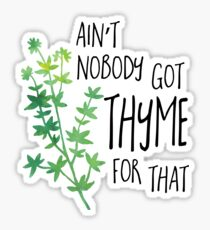 Ain't nobody got THYME for that - pun Sticker