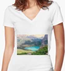 Paradise In The Glacier Women's Fitted V-Neck T-Shirt