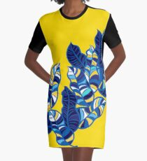Pop foliage on Yellow Graphic T-Shirt Dress