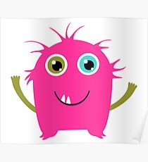 Cute and funny pink monster alien Poster