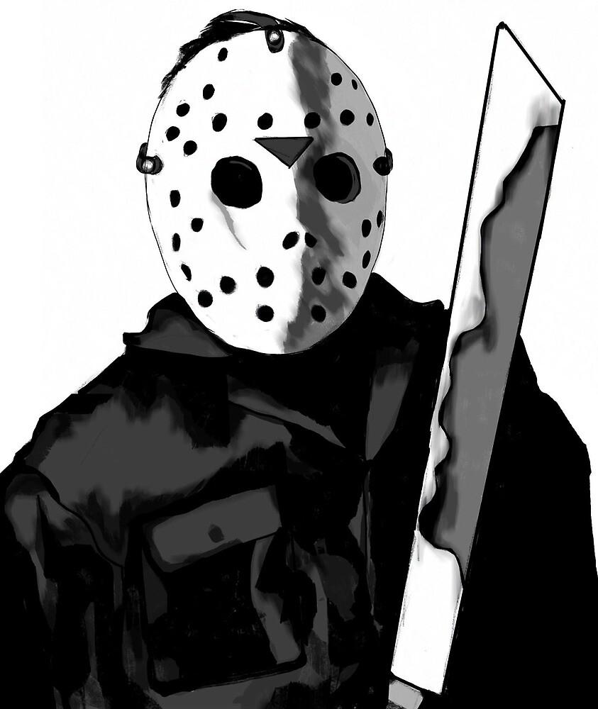 Jason Friday the 13th Horror Movie Art by Sarah Zinkann