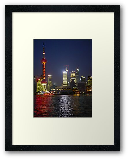 A view of the Pudong pearl tower and skyline at night; Changhai, China by PhotoStock-Isra
