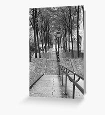 Escalier - Montmartre - Paris Black and White Greeting Card