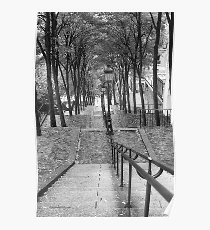 Escalier - Montmartre - Paris Black and White Poster