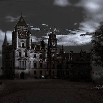 Spooky Night on Dunrobin Castle Black and White (Golspie, Sutherland, Scotland) by Photograph2u