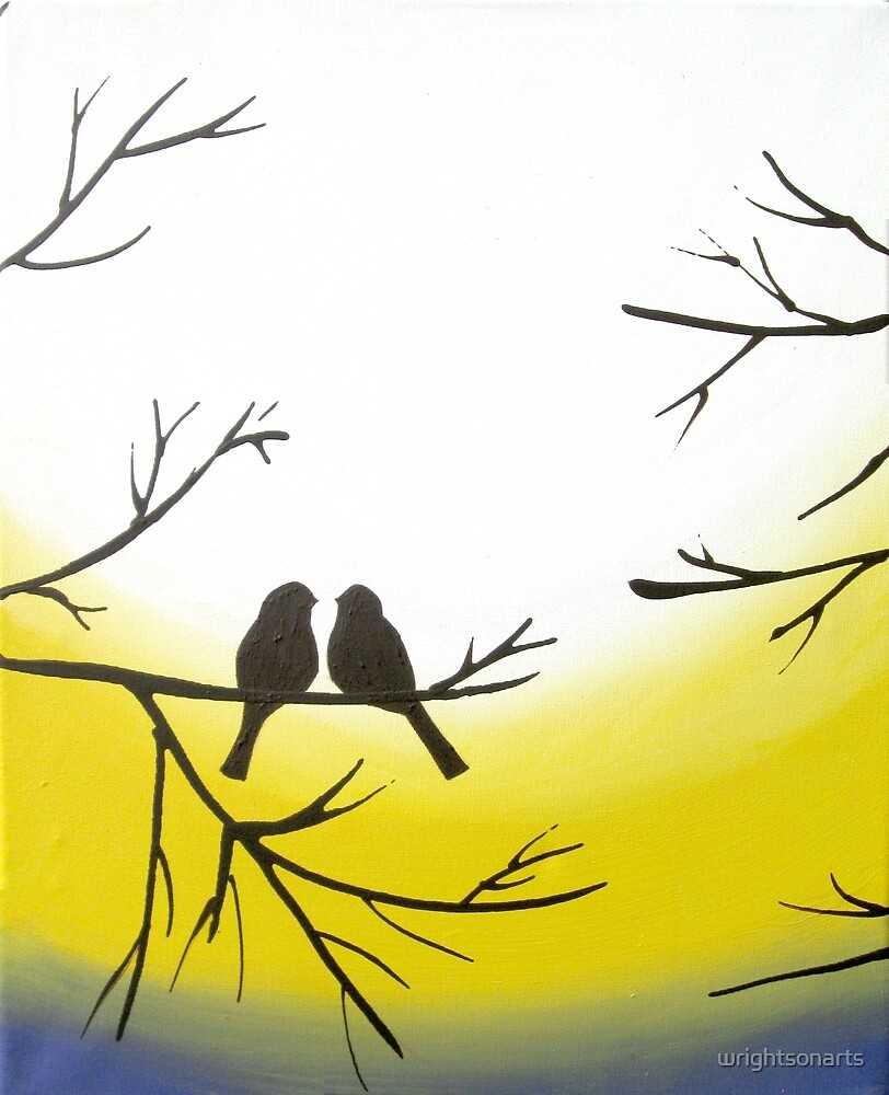 Love Bird Landscape Abstract Bird Painting Triptych Nursery Canvas