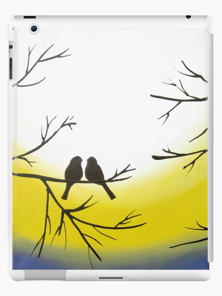 love bird landscape abstract bird painting triptych nursery canvas ...