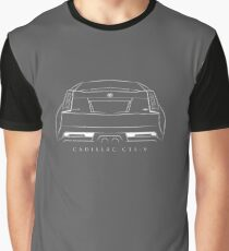 Cadillac CTS-V Coupe - rear Stencil, white Graphic T-Shirt