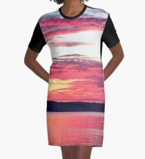Red Sunset over Water Washington State Graphic T-Shirt Dress