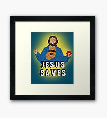 Jesus playing DnD Framed Print