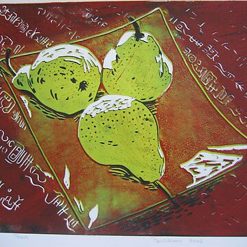 pears on Japanese cloth by pipwill