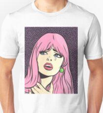 Pink Pop Art Crying Comic Girl Unisex T-Shirt