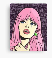 Pink Pop Art Crying Comic Girl Canvas Print