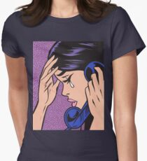 Telephone Crying Comic Girl Womens Fitted T-Shirt