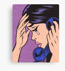 Telephone Crying Comic Girl Canvas Print