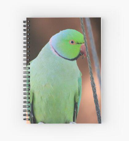 Indian Ringneck Parrot in my garden Spiral Notebook