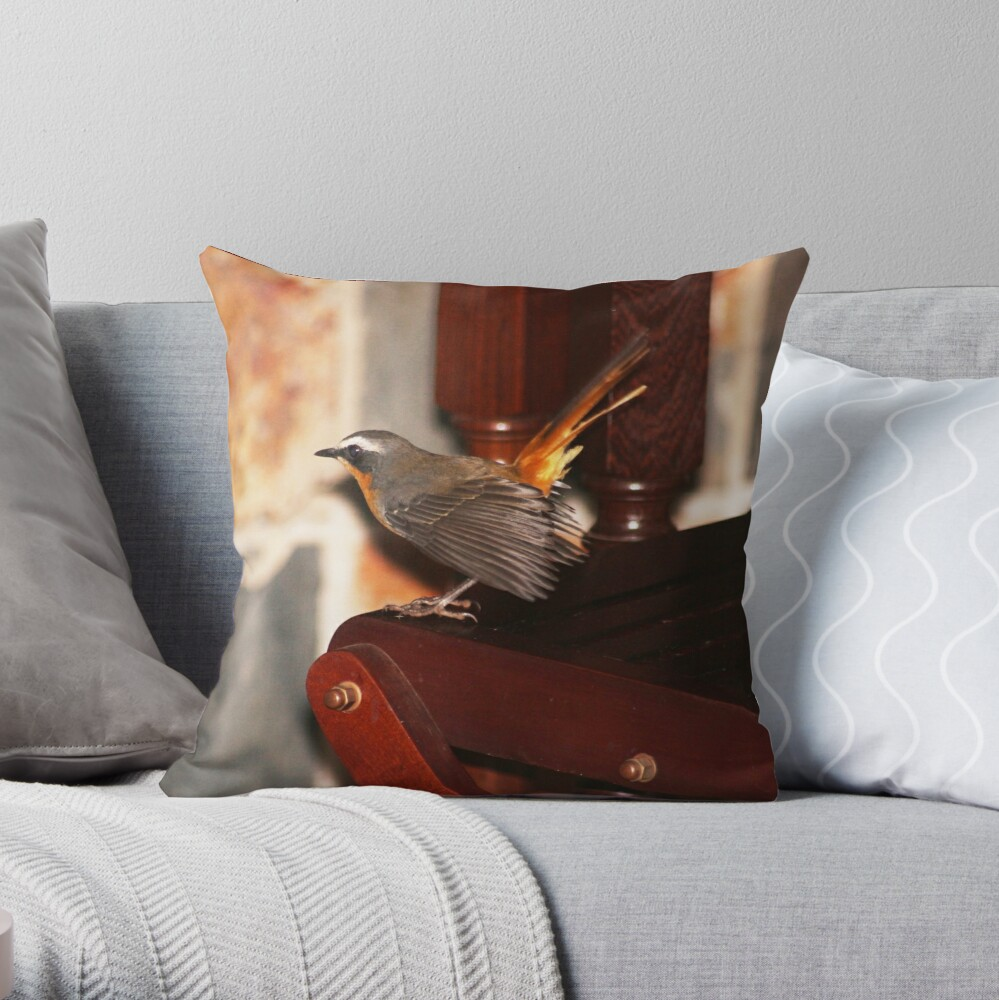 Robin in my house Throw Pillow