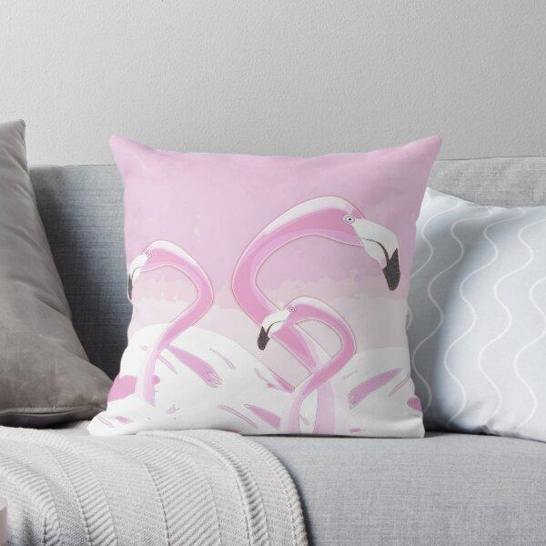 Soft Pink Flamingos Design Throw Pillow