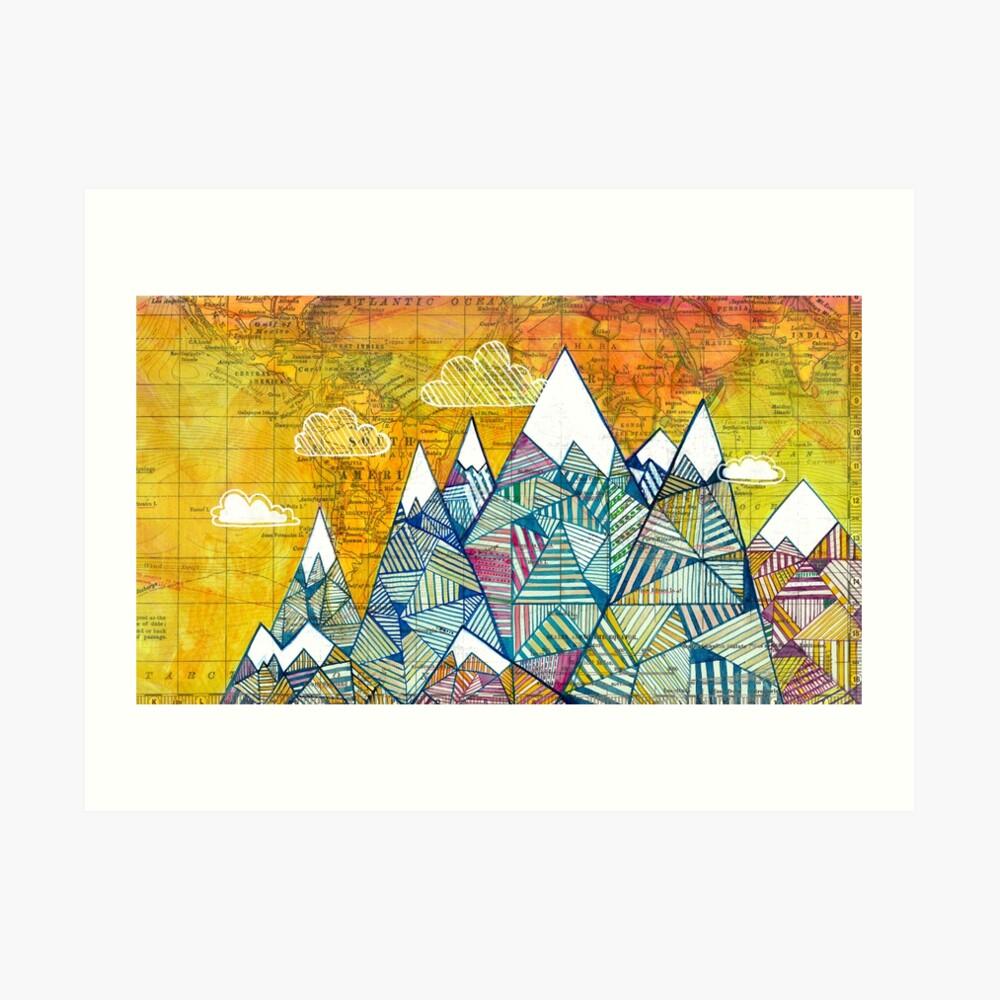 Mapas y montañas Lámina artística