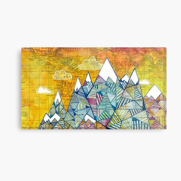 Maps and Mountains Metal Print