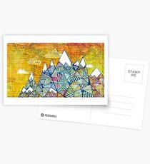 Karten und Berge Postkarten