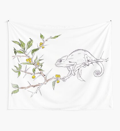 Kei-apple and a Chameleon - Botanical illustration Wall Tapestry