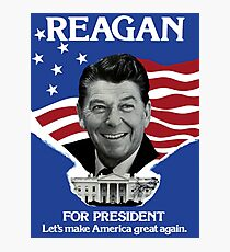 Vintage Ronald Reagan 1980 Campaign Poster - Make America Great Again Photographic Print