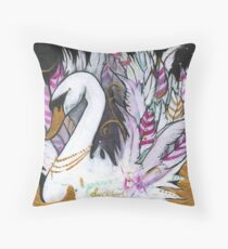 GORGEOUS DUCKLING SWAN with GOLD Throw Pillow