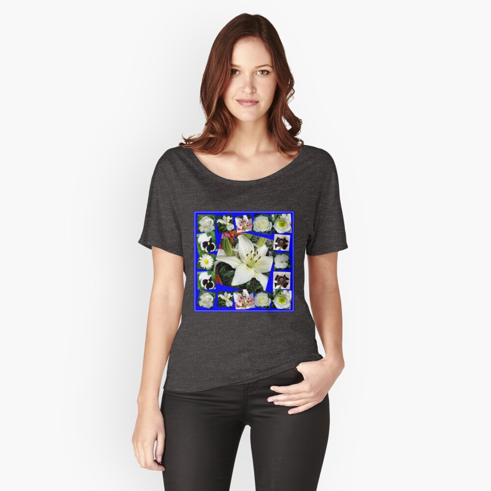 White Delight - Summer Flowers Collage Loose Fit T-Shirt