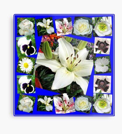 White Delight - Summer Flowers Collage Metallbild