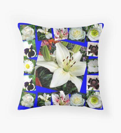 White Delight - Summer Flowers Collage Dekokissen