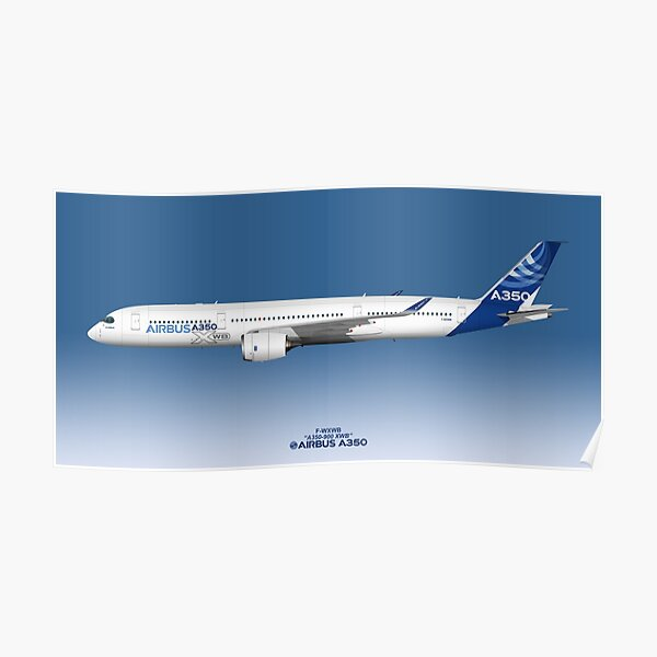 Illustration of Airbus A350 F-WXWB Poster