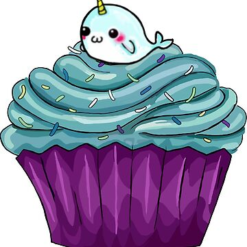 Cupcakes and a cute little unicorn whale Narwhal by mlswig