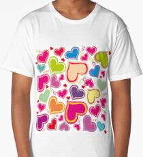Bright Loving Hearts Long T-Shirt
