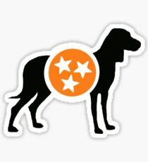 Black Hound with Orange & White Tri-Star Sticker
