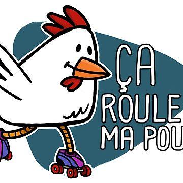 Rollerskating Hen - Ca roule! - Dark design by pencilfury