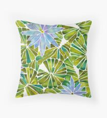 Water Lilies – Lavender & Green Palette Throw Pillow