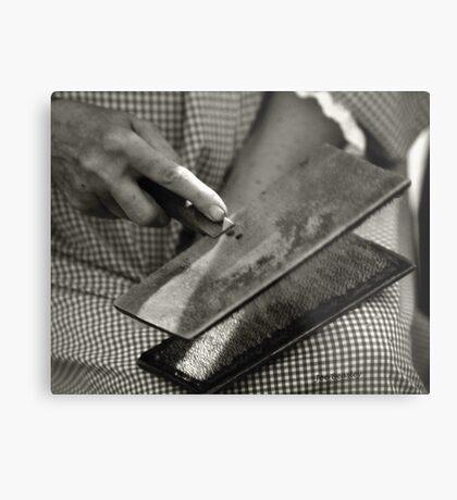 Carding Cotton Metal Print