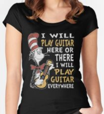 DR SEUSS GUITAR LOVERS Women's Fitted Scoop T-Shirt