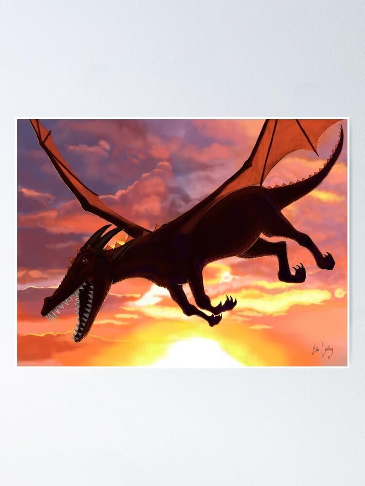 Alternate view of Soaring - Dragon Illustration Poster
