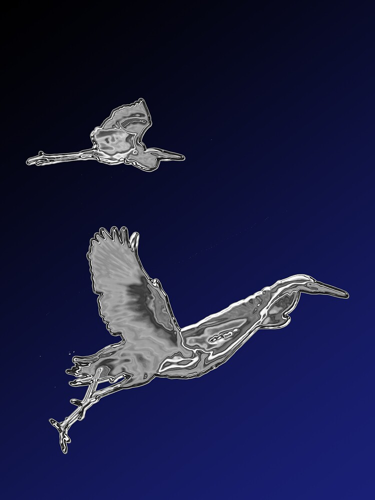 Egret & Heron in Chrome by Michael Wolf