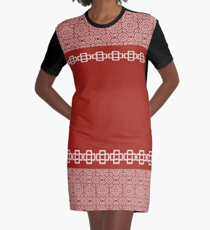 Beautiful Red Design Of Crosses Graphic T-Shirt Dress