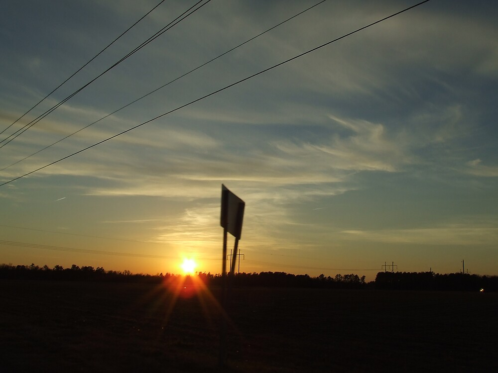 Sunset and Road Sign by Ray1945