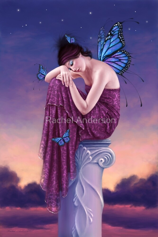 Sunset Blue Monarch Butterfly Fairy by Rachel Anderson