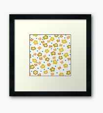 Retro green orange abstract floral pattern Framed Print