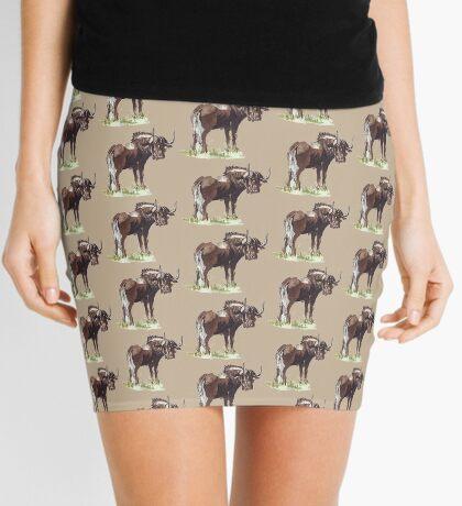 Black Wildebeest (Connochaetes gnou) Mini Skirt